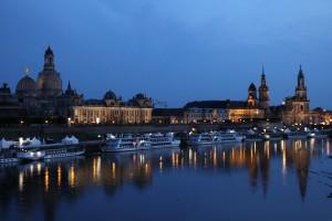 Dresden Altstadt abends, aufgebaut mit Fördermitteln